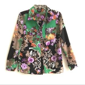 Knapp Studio floral button up roll tab blouse M